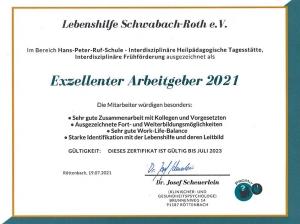Zertifikat auf Grund der Mitarbeiterbefragung 2021